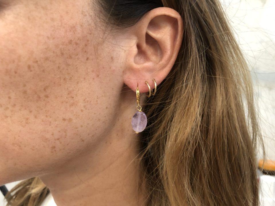 lila gem earring