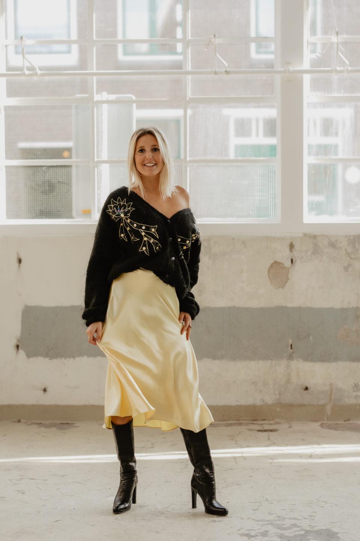 Zara Yellow Silk Skirt